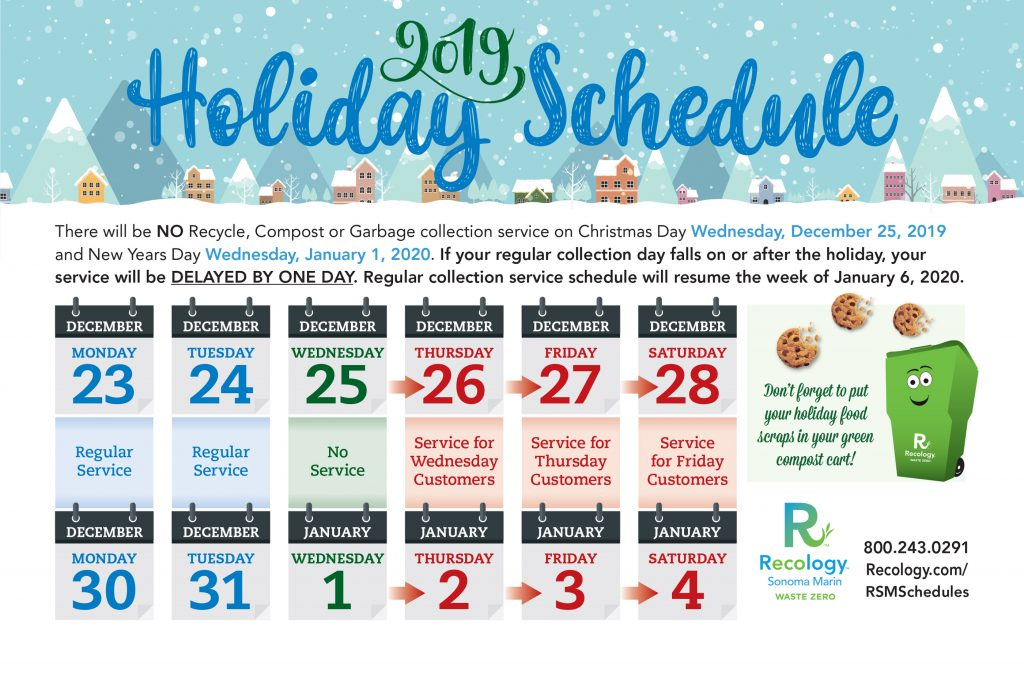 Recology sonoma marin holiday service schedule